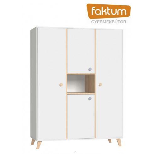 Faktum Colette Fehér 3 osztású szekrény - Fehér/ Coimbra