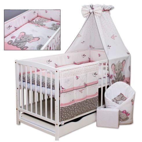 3 részes ágynemű garnitúra - rózsaszín /szürke elefánt és madár