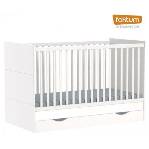 Faktum Alda Jégfehér átalakítható 140-es babaágy rágásvédővel +  ágyneműtartó - Fehér / magasfényű fehér