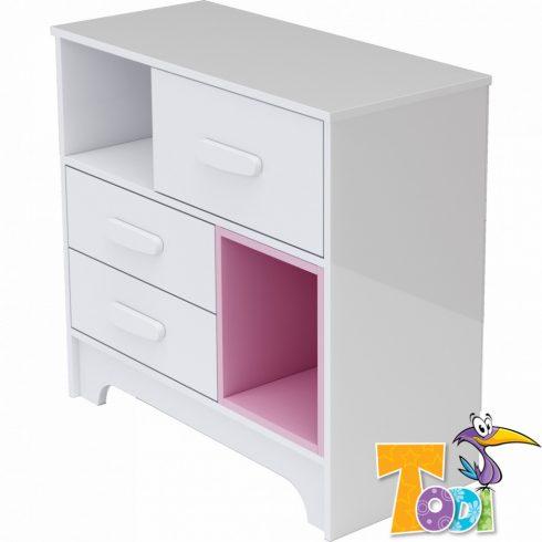 Todi Bianco 3 fiókos komód - bordázott fehér/pink
